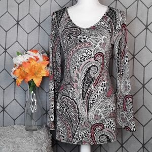 Dress Barn Paisley Tunic Blouse with Flare cuff